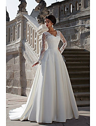 cheap -A-Line Wedding Dresses Strapless Court Train Lace Satin Long Sleeve Formal with Appliques 2021