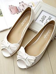 cheap -Women's Sandals / Flats Summer Flat Heel Peep Toe Daily PU White / Black / Gold