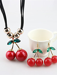 cheap -Women's Jewelry Set Cherry Cute Resin Earrings Jewelry Red For Festival