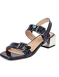 cheap -Women's Sandals 2020 Summer Cuban Heel Open Toe Preppy Minimalism Daily Buckle Color Block PU Black / Yellow / Green / Animal Print