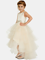 cheap -Ball Gown Asymmetrical Party / Wedding Flower Girl Dresses - Satin / Tulle Sleeveless Jewel Neck with Pleats / Tier / Solid