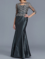 cheap -Sheath / Column Mother of the Bride Dress Elegant Illusion Neck Floor Length Lace Satin Half Sleeve with Appliques 2020