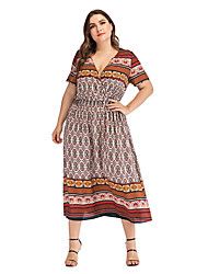 cheap -Women's Plus Size A-Line Dress Midi Dress - Short Sleeves Print Summer V Neck Casual Vintage 2020 Light Brown L XL