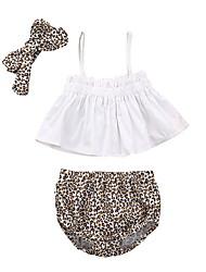Недорогие -малыш Девочки Классический Леопард Без рукавов Обычный Набор одежды Белый