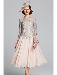 cheap -A-Line Mother of the Bride Dress Sexy Plus Size Jewel Neck Tea Length Chiffon Lace 3/4 Length Sleeve with Beading 2020