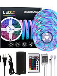 cheap -Bright RGBW LED Strip Lights 15M(3x5M) RGBW Tiktok Lights 3510LEDs SMD 2835 with 24 Keys IR Remote Controller and 100-240V Adapter for Home Bedroom Kitchen TV Back Lights DIY Deco