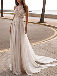 cheap -A-Line Wedding Dresses Halter Neck Sweep / Brush Train Chiffon Sleeveless Beach Sexy See-Through with Embroidery 2020