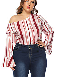 cheap -Women's Blouse Plus Size Striped Tops One Shoulder Loose Daily Blushing Pink L XL 2XL 3XL 4XL