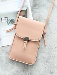 Недорогие -Жен. Молнии Кожа PU / PU Мобильный телефон сумка 2020 Сплошной цвет Серо-зеленый / Черный / Розовый