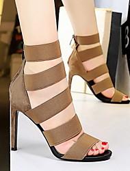 cheap -Women's Heels Summer Stiletto Heel Peep Toe Daily PU Black / Khaki / Gold