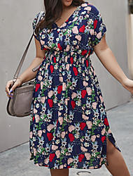 cheap -Women's A-Line Dress Knee Length Dress - Short Sleeves Print Summer Casual 2020 Yellow Green Royal Blue XL XXL XXXL XXXXL