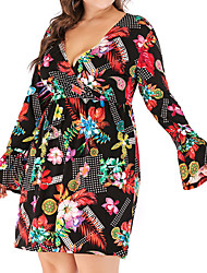 cheap -Women's A Line Dress Knee Length Dress Red Long Sleeve Print Summer V Neck Casual Sexy 2021 XL XXL 3XL 4XL 5XL 6XL / Plus Size