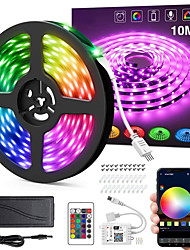 cheap -32.8ft 10M 24V Intelligent Dimming App Control Flexible Led Strip Lights 5050 Waterproof RGB SMD 300 LEDs IR 24 Key Controller with Installation Package  Kit DC24V