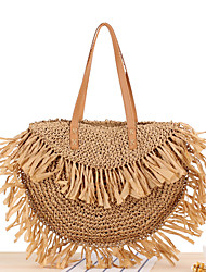 cheap -Women's Bags Top Handle Bag Straw Bag Tassel Bohemian Style Solid Color Daily Holiday Straw Bag Handbags Brown Beige