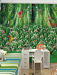 cheap -Home Decoration Modern Wall CoveringCustom Self Adhesive Mural Wallpaper Green Forest Children Cartoon Style Suitable For Bedroom Children's Room School Party