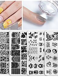 tanie -Stamper 1 * 6 szt&szablon skrobaka do tłoczenia Seria zwierzęca / Seria kwiatowa Multi-Design / Recykling Nail Art Manicure Pedicure Koreański Office / Kariera