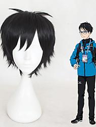 cheap -Cosplay Wig Yuri Katsuki Yuri on Ice Straight Cosplay Short Bob Wig Short Black Synthetic Hair 12 inch Men's Anime Cosplay Cool Black