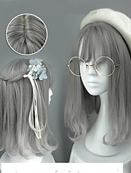 cheap -Cosplay Wig Lolita Straight Cosplay Halloween With Bangs Wig Medium Length Grey Synthetic Hair 18 inch Women's Anime Cute Cosplay Gray