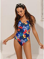 cheap -Women's Sexy Briefs One-piece Swimwear Swimsuit - Floral Print S M L Blue