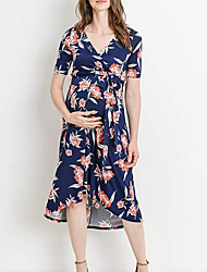 cheap -Women's A-Line Dress Midi Dress - Short Sleeves Floral Summer Boho 2020 Blue Blushing Pink Gray S M L XL XXL