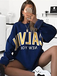 cheap -Women's Sweatshirt Letter Basic Hoodies Sweatshirts  Cotton Loose Blue