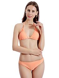 olcso -Női Narancssárga Pánt Merész Bikini Tankini Fürdőruha Fürdőruha - Egyszínű Fűzős S M L Narancssárga