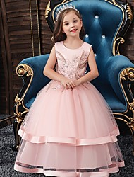 cheap -Princess / Ball Gown Floor Length Wedding / Party Flower Girl Dresses - Tulle Sleeveless Jewel Neck with Bow(s) / Appliques / Cascading Ruffles