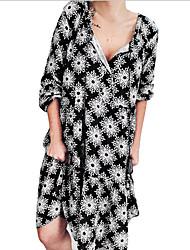 cheap -Women's A-Line Dress Knee Length Dress - Long Sleeve Print Summer Casual Mumu 2020 Black Purple Green Dusty Blue S M L XL XXL XXXL XXXXL XXXXXL