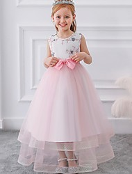 cheap -Princess / Ball Gown Floor Length Wedding / Party Flower Girl Dresses - Tulle Sleeveless Jewel Neck with Sash / Ribbon / Bow(s) / Appliques