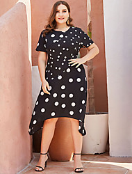 cheap -Women's Plus Size A-Line Dress Midi Dress - Short Sleeves Polka Dot Summer Casual 2020 Black XXXL XXXXL