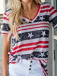halpa -Naisten Color Block T-paita V kaula-aukko Päivittäin Kesä Rubiini S M L XL