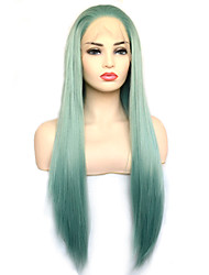 cheap -Vogue Queen Medium Turquoise Green Straight Long Synthetic Lace Front Wig With Natural Hairline Daily Wearing For Women
