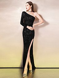 cheap -Mermaid / Trumpet Sexy Sparkle Party Wear Formal Evening Dress One Shoulder Long Sleeve Floor Length Sequined with Sequin 2020