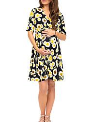 cheap -Women's A-Line Dress Knee Length Dress - Short Sleeves Print Summer Casual Chinoiserie 2020 White Black Red S M L XL
