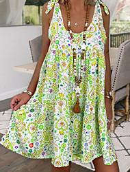 cheap -Women's A-Line Dress Short Mini Dress Sleeveless Floral Summer Casual Boho 2021 Blue Red Green S M L XL XXL 3XL