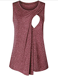 cheap -Women's Tank Top Solid Colored Tops Round Neck Daily Summer Red Navy Blue Gray S M L XL 2XL