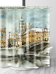 cheap -Watercolor Painting City Digital Print Waterproof Fabric Shower Curtain for Bathroom Home Decor Covered Bathtub Curtains Liner Includes with Hooks