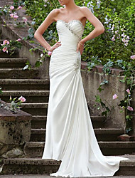 cheap -Mermaid / Trumpet Wedding Dresses Strapless Sweep / Brush Train Chiffon Over Satin Sleeveless Formal Sexy with Ruched Beading 2021