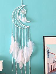 cheap -Boho Dream Catcher Handmade Gift Wall Hanging Decor Art Ornament Craft Moon Bead Feather Woven Macrame For Kids Bedroom Wedding Festival 20*75cm