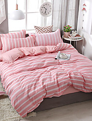 cheap -Duvet Cover Sets 4 Piece Polyester / Viscose Lines / Waves Pink Printed Simple