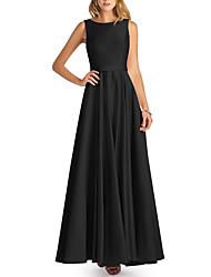 cheap -A-Line Jewel Neck Floor Length Satin Bridesmaid Dress with Pleats