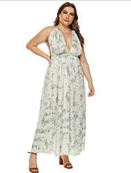 cheap -Women's Strap Dress Maxi long Dress - Sleeveless Print Summer Casual Mumu 2020 Green XL XXL XXXL XXXXL