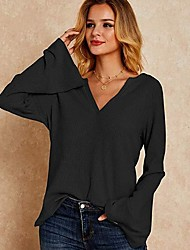 cheap -Women's Pullover Sweatshirt Solid Colored Basic Hoodies Sweatshirts  White Black Blue