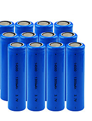 cheap -12pcs/Lot 3.7V 1300 mAh 14500 Rechargeable Batteries Universal Blue Lithium Li-ion Battery for Camera Flashlight Laser Pointer