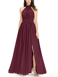 cheap -A-Line Halter Neck Floor Length Chiffon Bridesmaid Dress with Pleats / Split Front