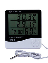 cheap -LCD Electronic Digital Temperature Humidity Meter Indoor Outdoor Thermometer Hygrometer Weather Station Clock HTC-2