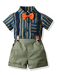 billiga -Barn Pojkar Grundläggande Randig Kortärmad Klädesset Ljusgrön