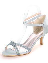cheap -Women's Wedding Shoes Kitten Heel Open Toe Minimalism Wedding Party & Evening Satin Sparkling Glitter Solid Colored Summer White Black Purple