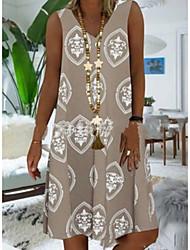 cheap -Women's A-Line Dress Knee Length Dress - Sleeveless Print Summer V Neck Casual Mumu 2020 Blushing Pink Khaki Gray S M L XL XXL XXXL