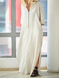 cheap -Women's Shift Dress Maxi long Dress - 3/4 Length Sleeve Solid Color Summer Casual 2020 White Black Orange Khaki L XL XXL XXXL XXXXL XXXXXL